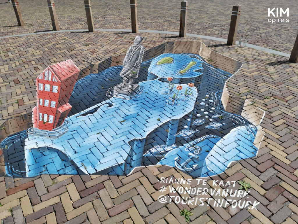 3D graffiti Urk - Flevoland as an underwater world with anchors and fish